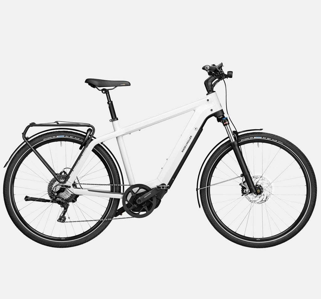 Riese & Muller Charger3 GT Touring E-Bike with Schwalbe Big Ben Plus Tires and Dropper Seatpost in Ceramic White