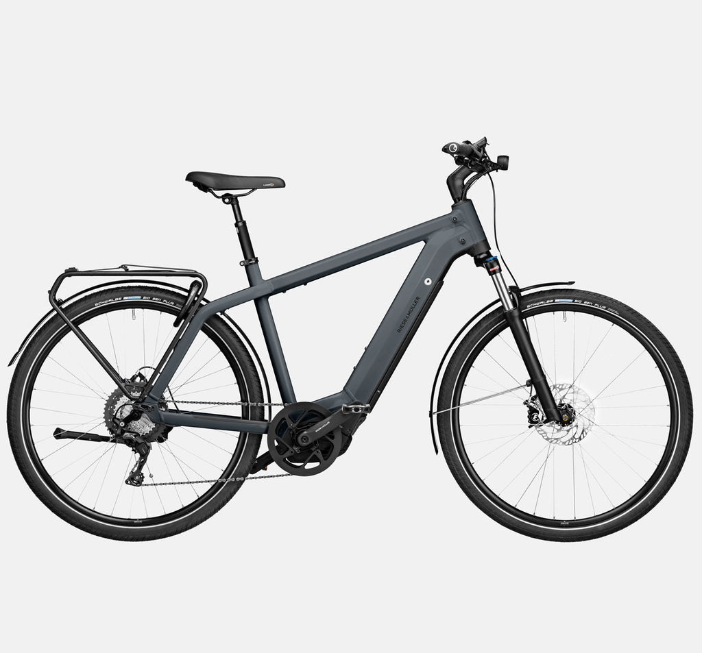 Riese & Muller Charger3 GT Touring E-Bike with Schwalbe Big Ben Plus Tires and Dropper Seatpost in Storm Blue Matte