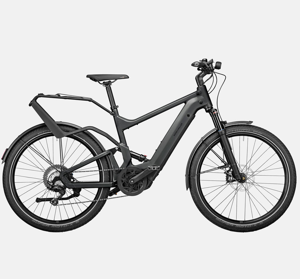 Riese & Muller Delite GT Touring Full Suspension Mountain E-Bike with Schwalbe SuperMoto-X Tires in Urban Grey Matte