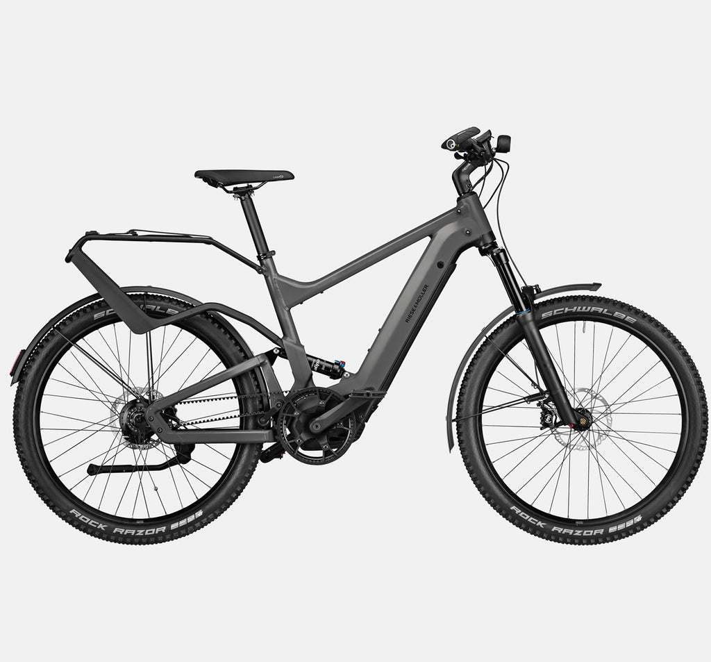 Riese & Muller Delite Rohloff Full Suspension Mountain E-Bike with Schwalbe Rock Razor Tires and Rack in Urban Grey Matte