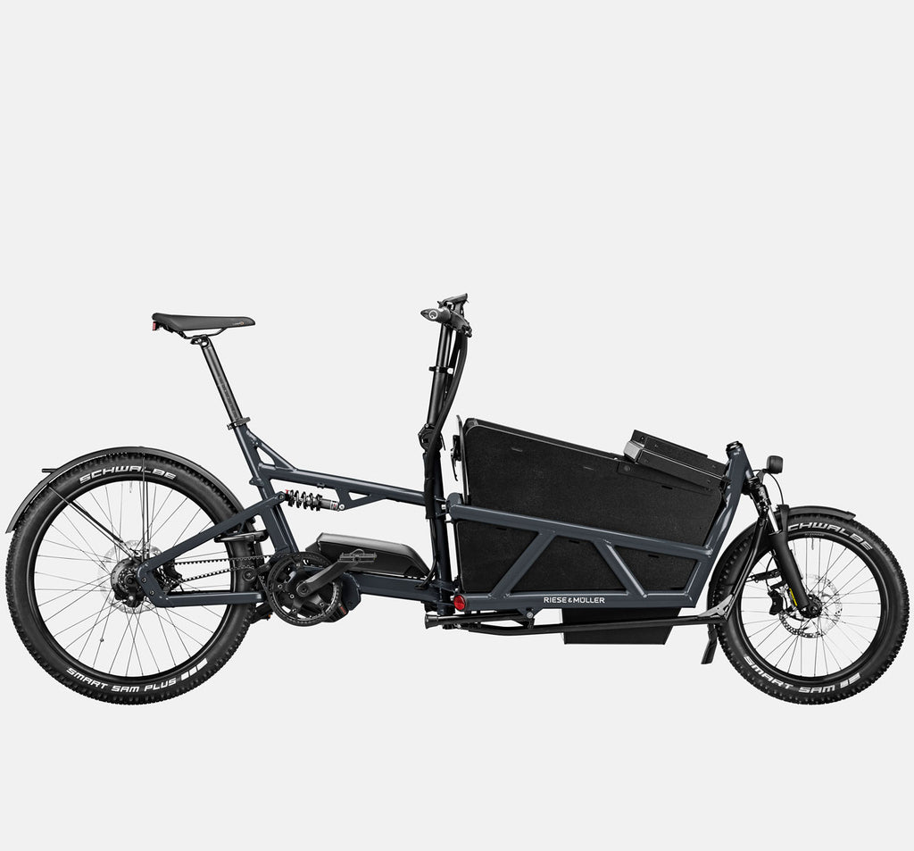 Riese & Muller Load 60 Full Suspension E-Cargo Bike in Coal Grey Matte with Locking Box (Open) - GX Option