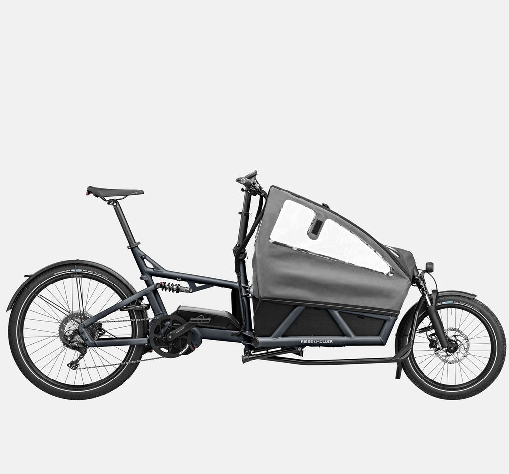 Riese & Muller Load 60 Full Suspension E-Cargo Bike in Coal Grey Matte with Child Seats and Canopy
