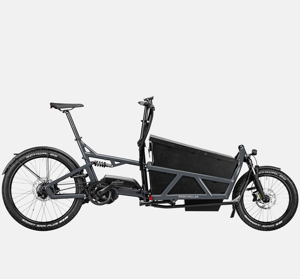 Riese & Muller Load 60 Full Suspension E-Cargo Bike in Coal Grey Matte with Locking Box - GX Option