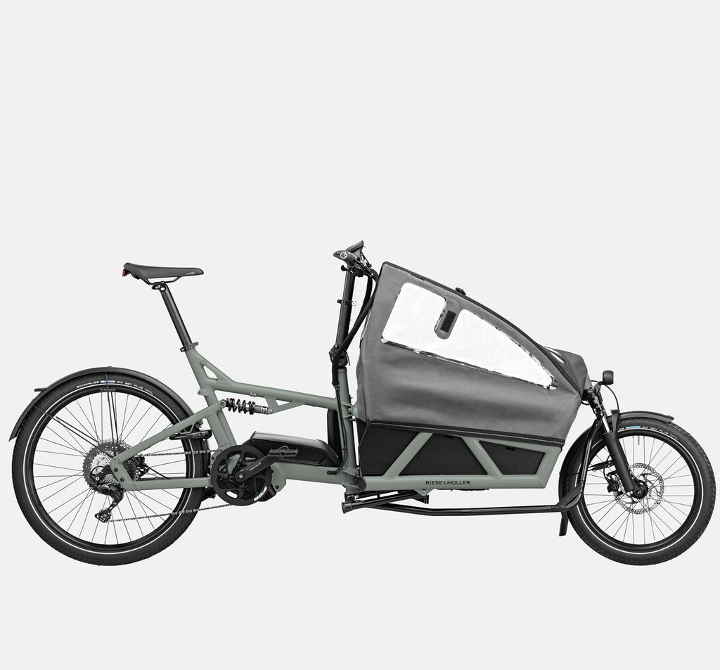 Riese & Muller Load 60 Full Suspension E-Cargo Bike in Tundra Grey Matte with Child Seats and Canopy