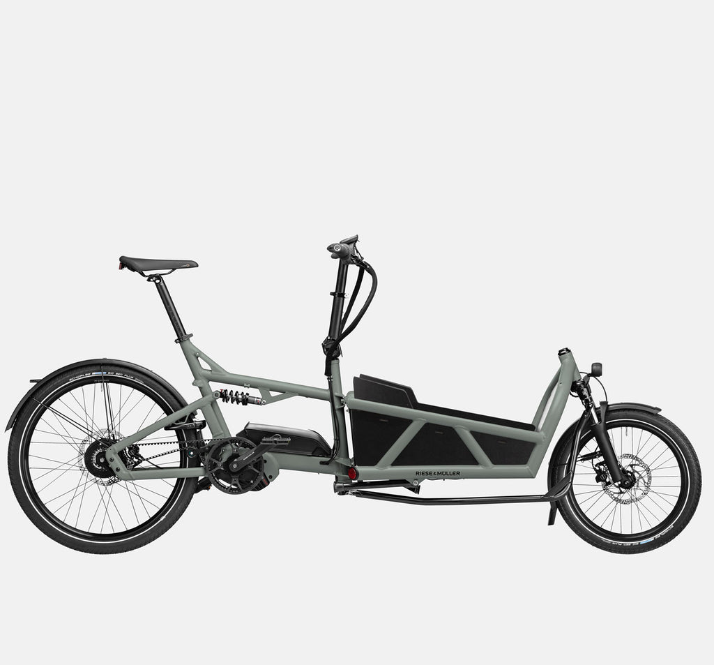 Riese & Muller Load 60 Vario E-Cargo Bike in Tundra Grey Matte with Low Box Sidewalls