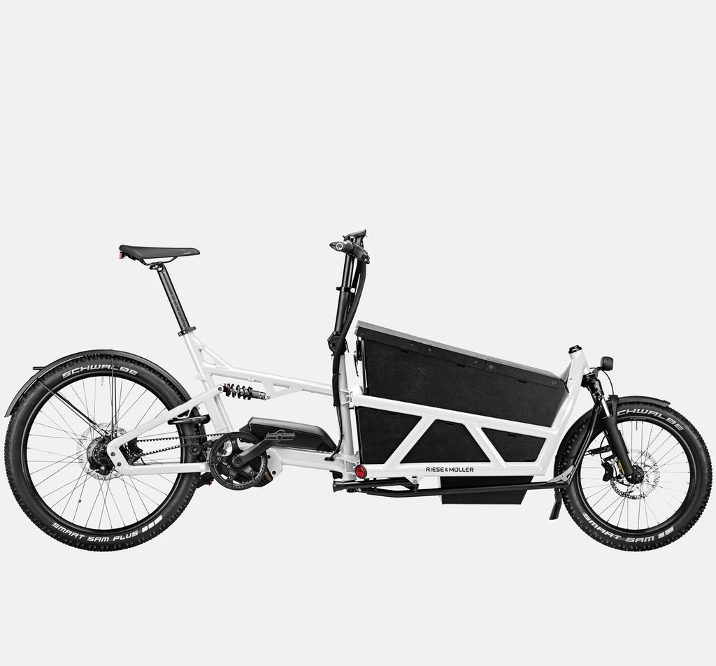 Riese & Muller Load 60 Full Suspension E-Cargo Bike in White Gloss with Locking Box - GX Option