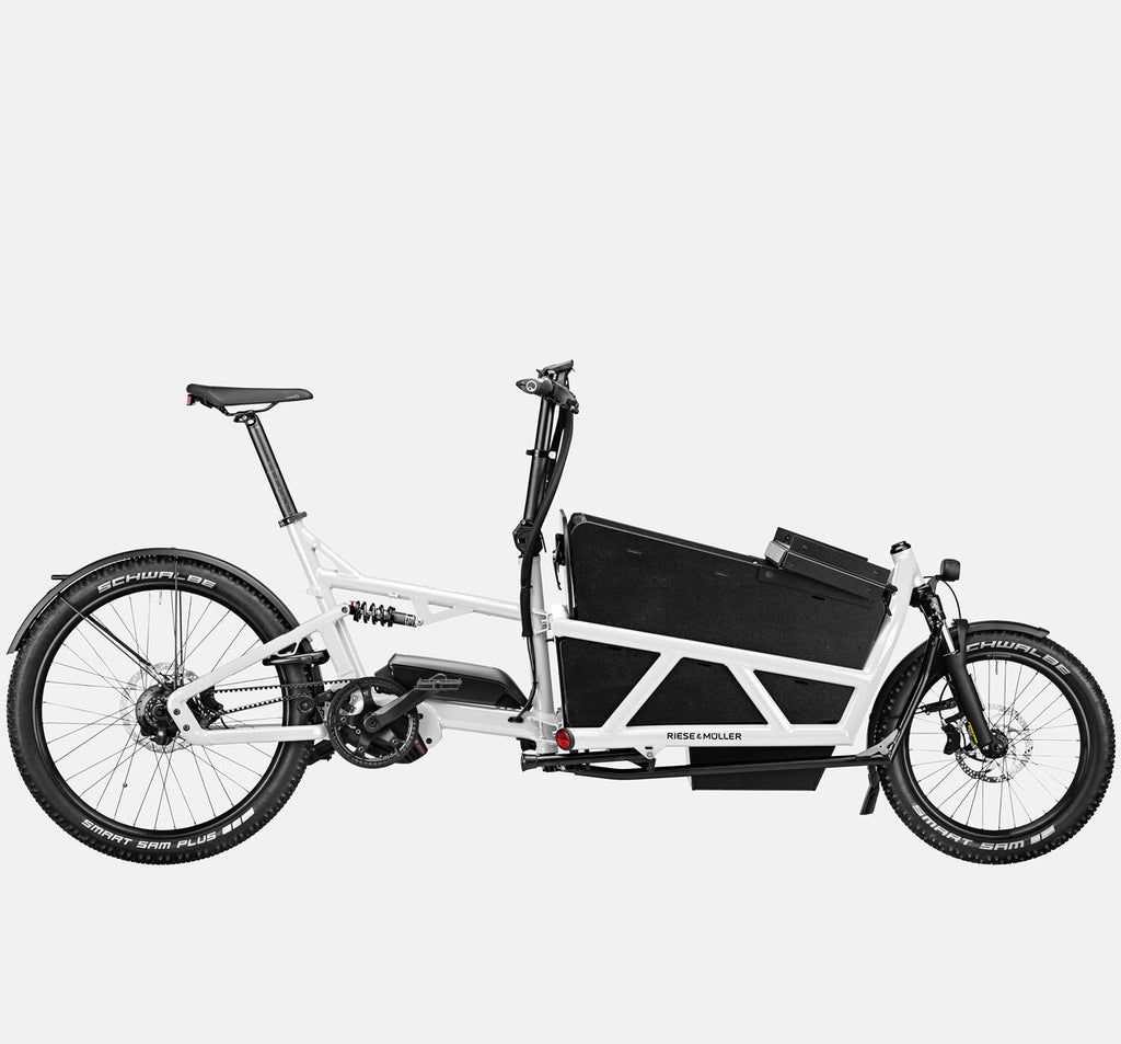 Riese & Muller Load 60 Full Suspension E-Cargo Bike in White Gloss with Locking Box (Open) - GX Option