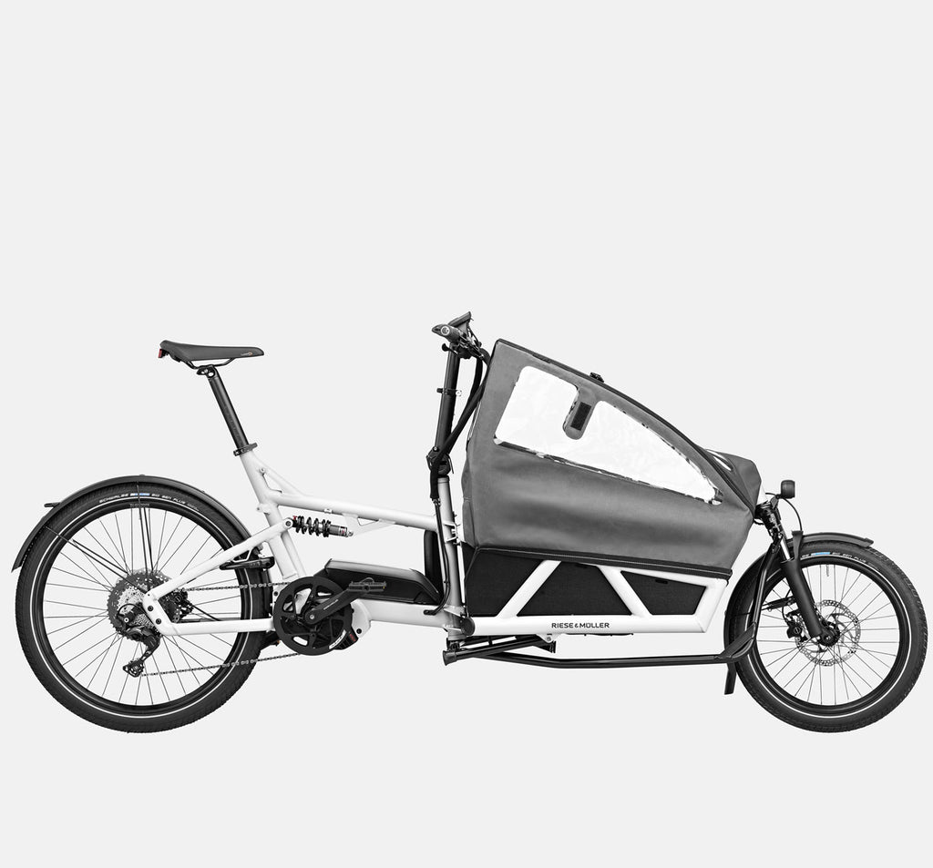 Riese & Muller Load 60 Full Suspension E-Cargo Bike in White Gloss with Child Seats and Canopy