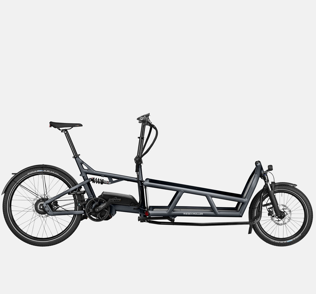 Riese & Muller Load 75 Vario Full Suspension E-Cargo Bike with Schwalbe Big Ben Plus Tires in Coal Grey Matte