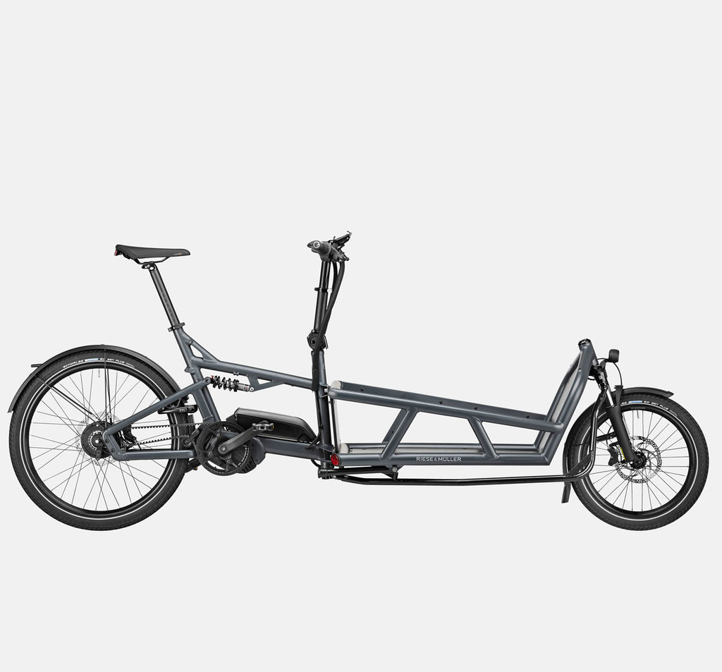 Riese & Muller Load 75 Vario Full Suspension E-Cargo Bike with Schwalbe Big Ben Plus Tires and Smartphone Hub Cockpit in Coal Grey Matte