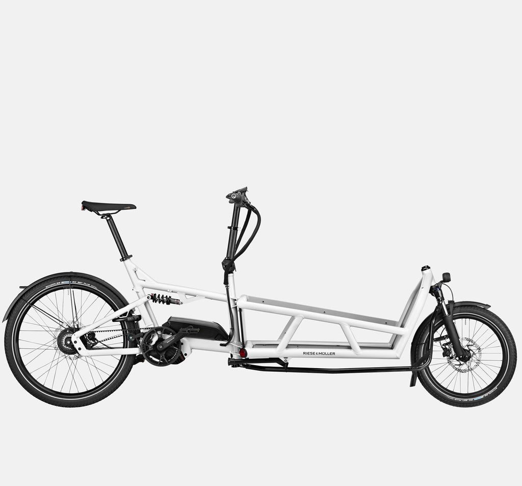 Riese & Muller Load 75 Vario Full Suspension E-Cargo Bike with Schwalbe Big Ben Plus Tires in White