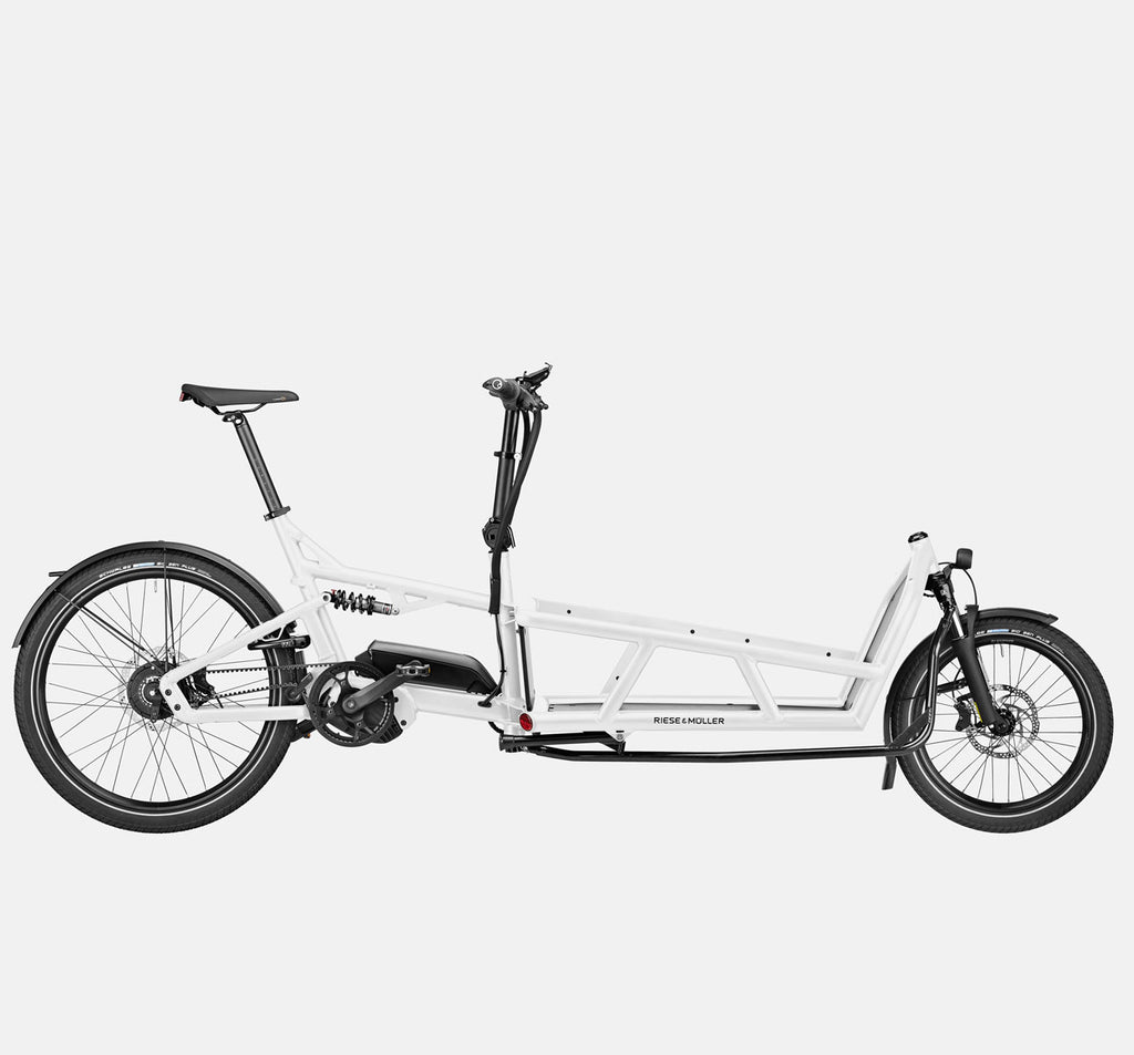 Riese & Muller Load 75 Vario Full Suspension E-Cargo Bike with Schwalbe Big Ben Plus Tires and Smartphone Hub Cockpit in White
