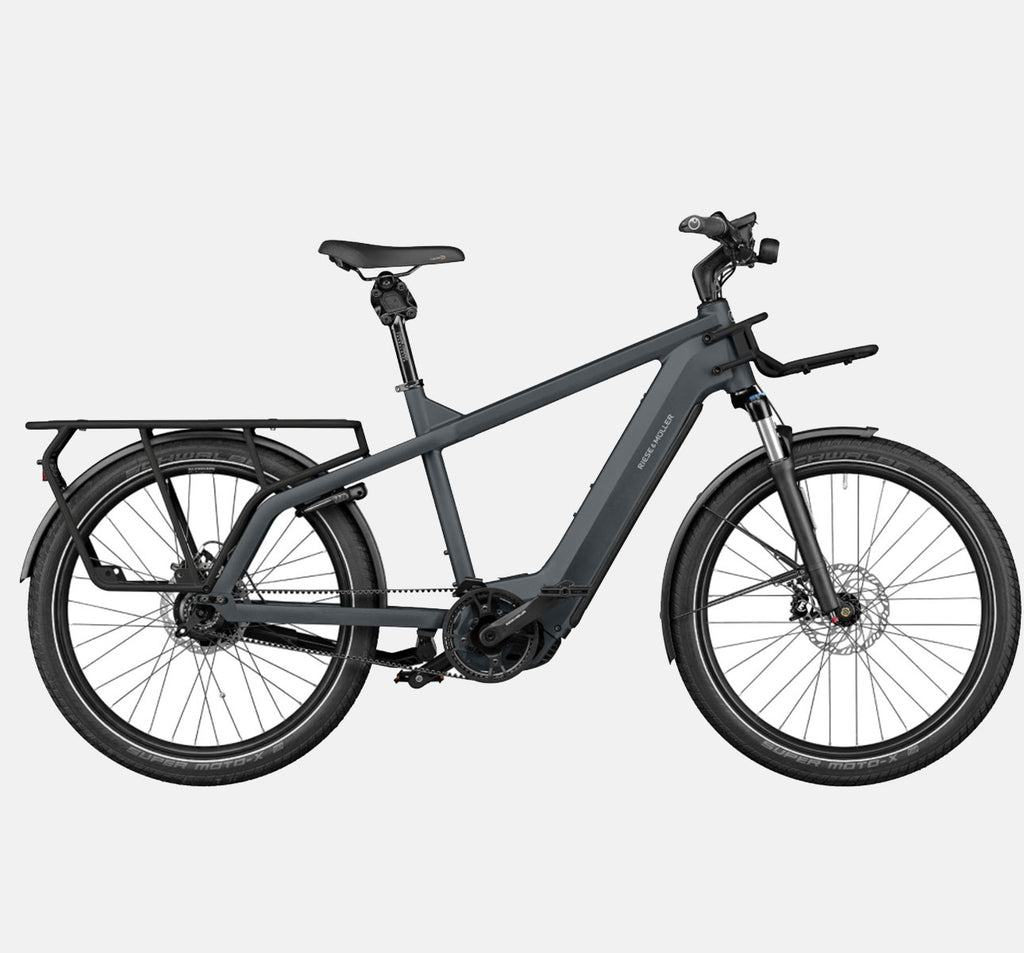 RIese & Muller Multicharger GT Rohloff Suspension E-Bike with THudbuster Seatpost in Utility Grey and Black Matte