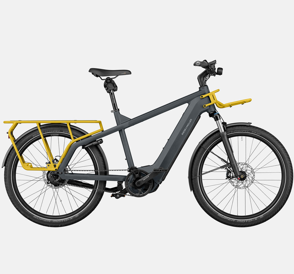 RIese & Muller Multicharger GT Rohloff Suspension E-Bike with THudbuster Seatpost in Utility Grey and Curry Matte