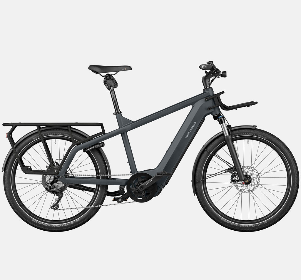 Riese & Muller Multicharger GT Touring Suspension E-Bike with SuperMoto-X Tires in Utility Grey and Black Matte