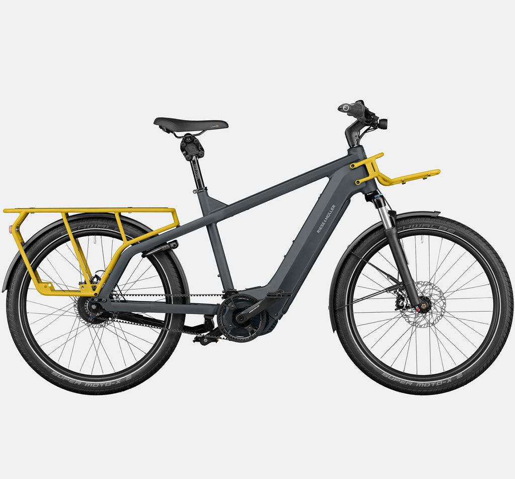 Riese & Muller Multicharger Mixte GT Vario Suspension E-Bike with Thudbuster Seatpost in Utility Grey & Curry Matte