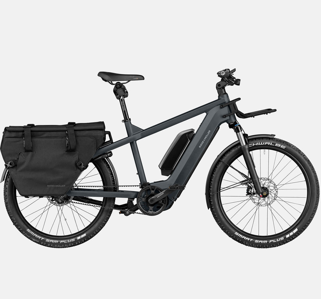 RIese & Muller Multicharger GT Rohloff Suspension E-Bike with THudbuster Seatpost and Cargo Bags in Utility Grey and Black Matte