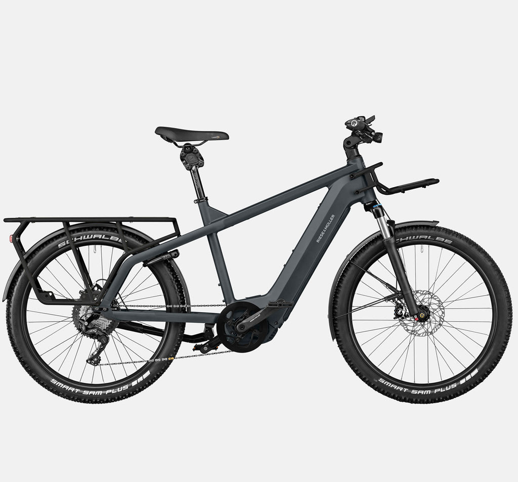 Riese & Muller Multicharger GT Touring Suspension E-Bike with Smart Sam Tires in Utility Grey and Black Matte (GX Option)