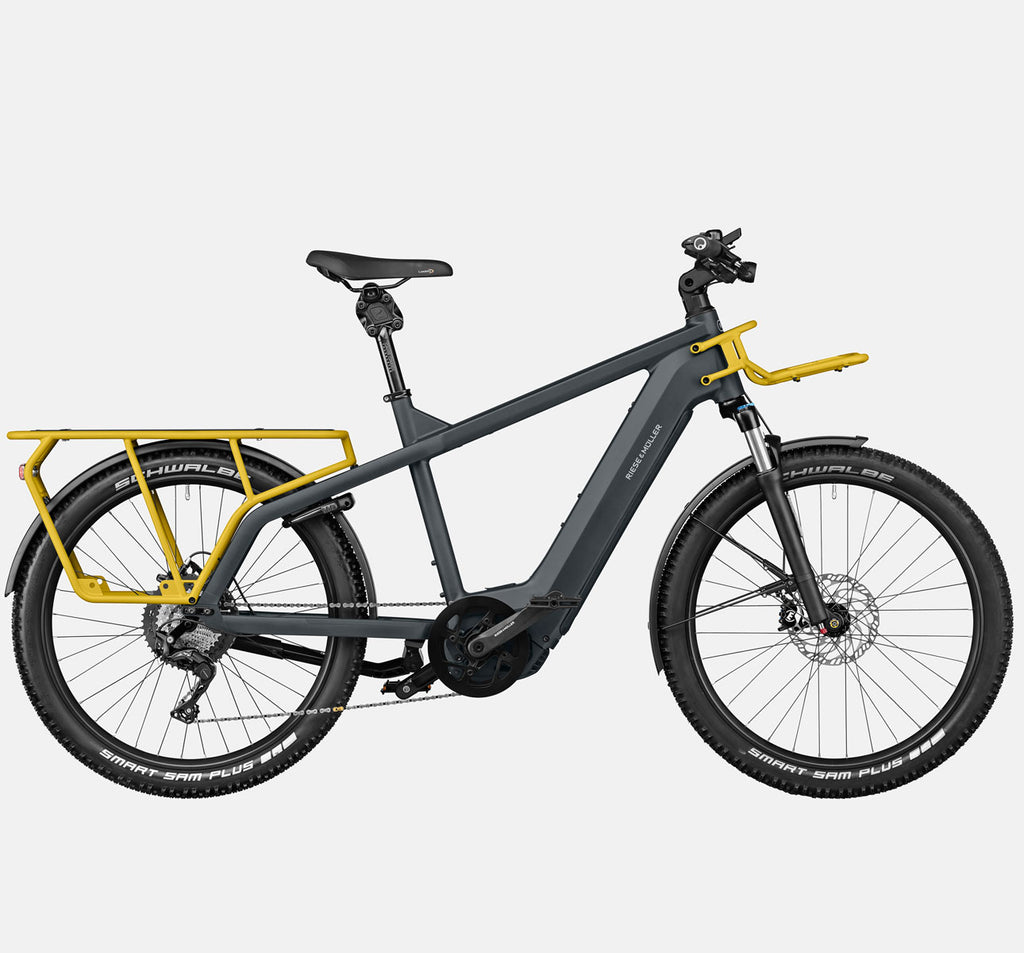 Riese & Muller Multicharger GT Touring Suspension E-Bike with Smart Sam Tires in Utility Grey and Curry Matte (GX Option)
