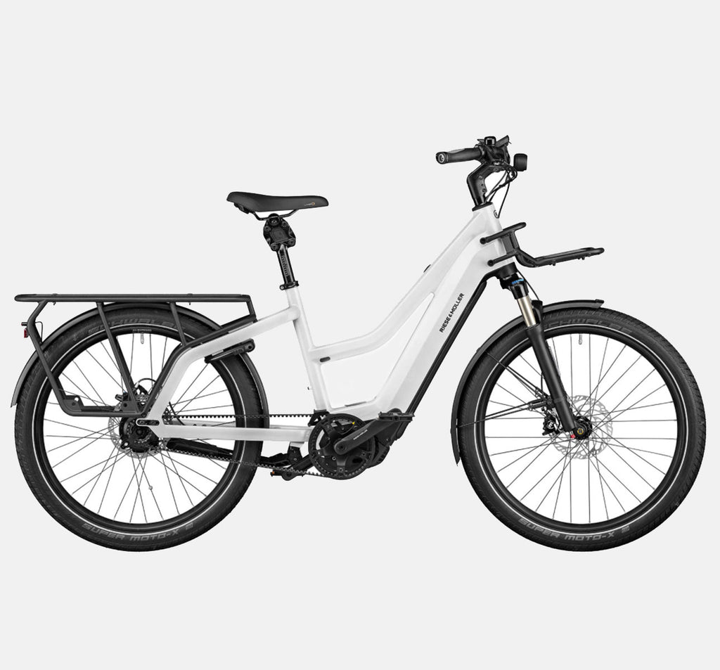 Riese & Muller Multicharger Mixte GT Rohloff Suspension Longtail E-Bike with SuperMoto-X Tires and Thudbuster Seatpost in Pearl White and Black Matte