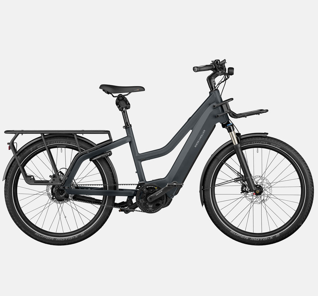 Riese & Muller Multicharger Mixte GT Rohloff Suspension Longtail E-Bike with SuperMoto-X Tires and Thudbuster Seatpost in Utility Grey and Black Matte