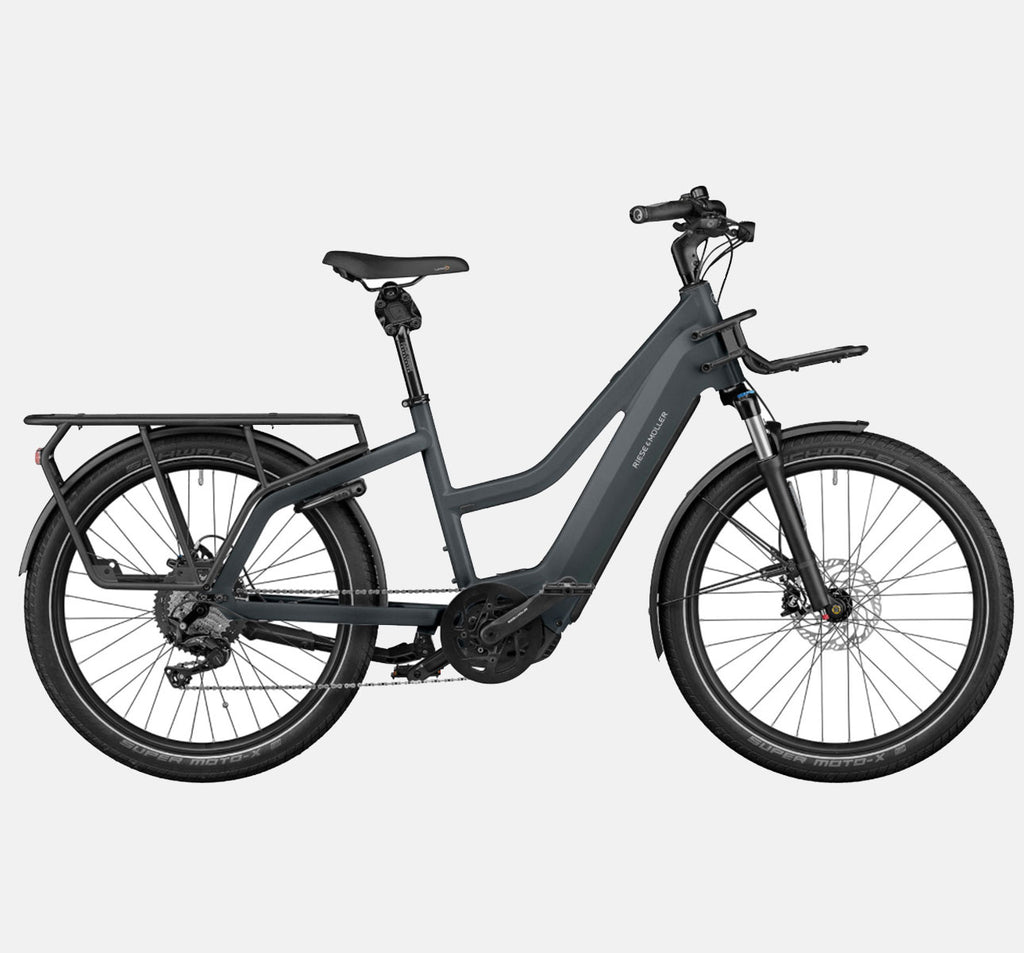 Riese & Muller Multicharger Mixte Touring Longtail E-Bike with Suspension in Utility Grey and Black Matte