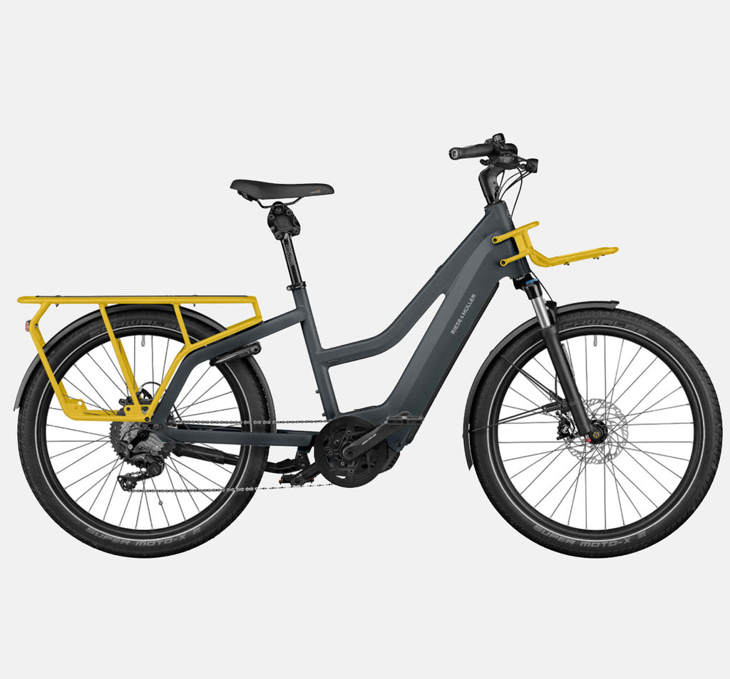 Riese & Muller Multicharger Mixte Touring Longtail E-Bike with Suspension in Utility Grey and Curry Matte