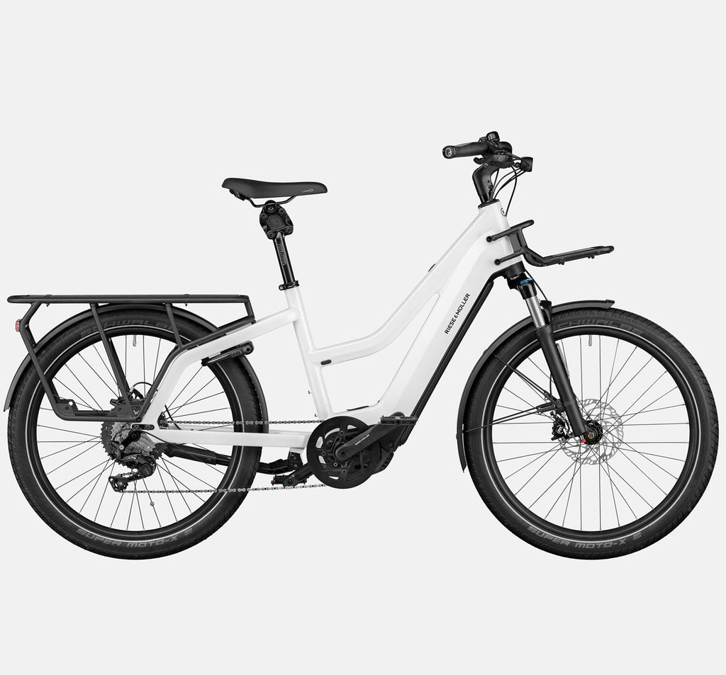 Riese & Muller Multicharger Mixte Touring Longtail E-Bike with Suspension in Pearl White and Black Matte