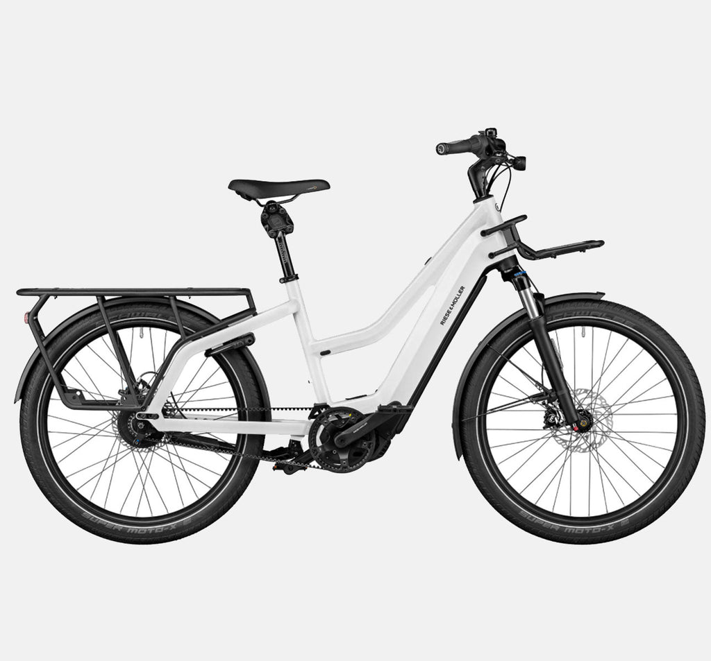 Riese & Muller Multicharger Mixte GT Vario Suspension E-Bike with Thudbuster Seatpost in Pearl White & Black Matte