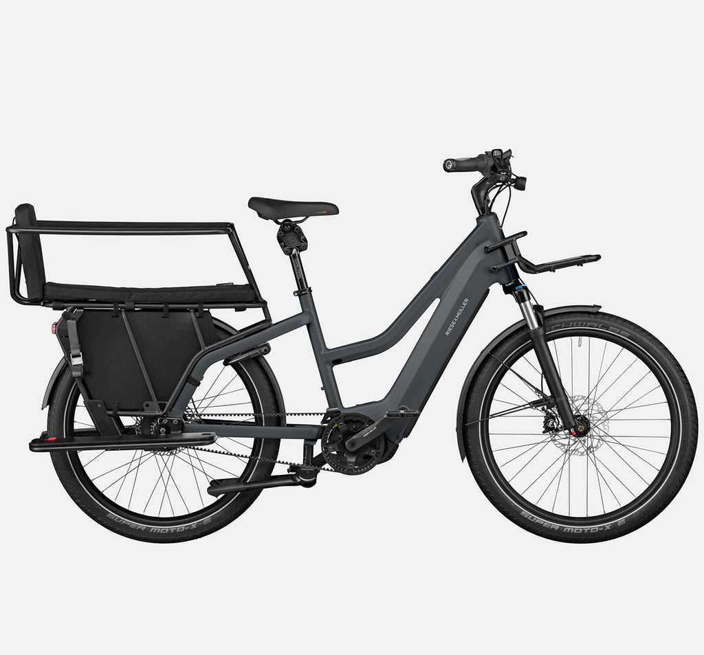 Riese & Muller Multicharger Mixte GT Vario Suspension E-Bike with Safety Bar Child Passenger Kit and Thudbuster Seatpost in Utility Grey & Black Matte