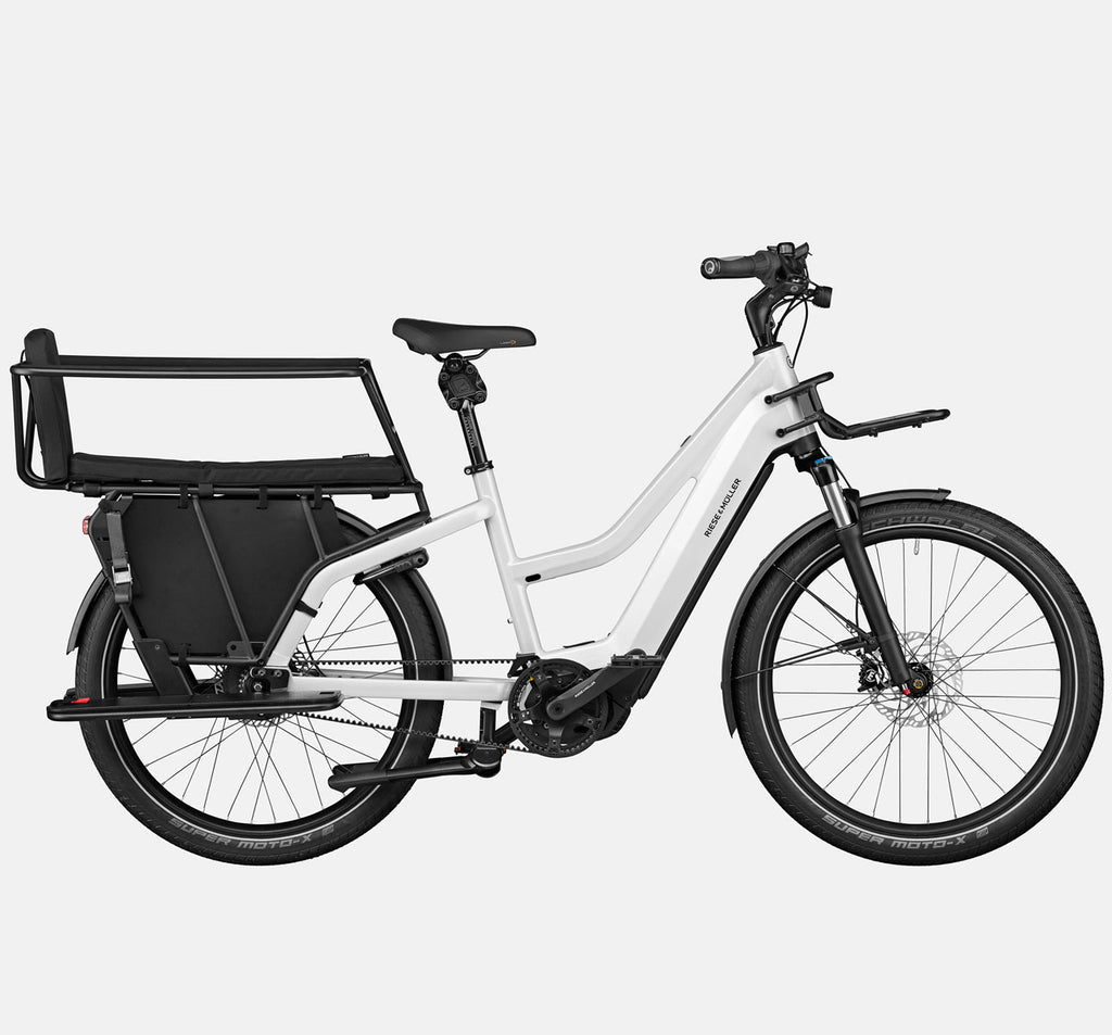 Riese & Muller Multicharger Mixte GT Vario Suspension E-Bike with Safety Bar Child Passenger Kit and Thudbuster Seatpost in Pearl White & Black Matte