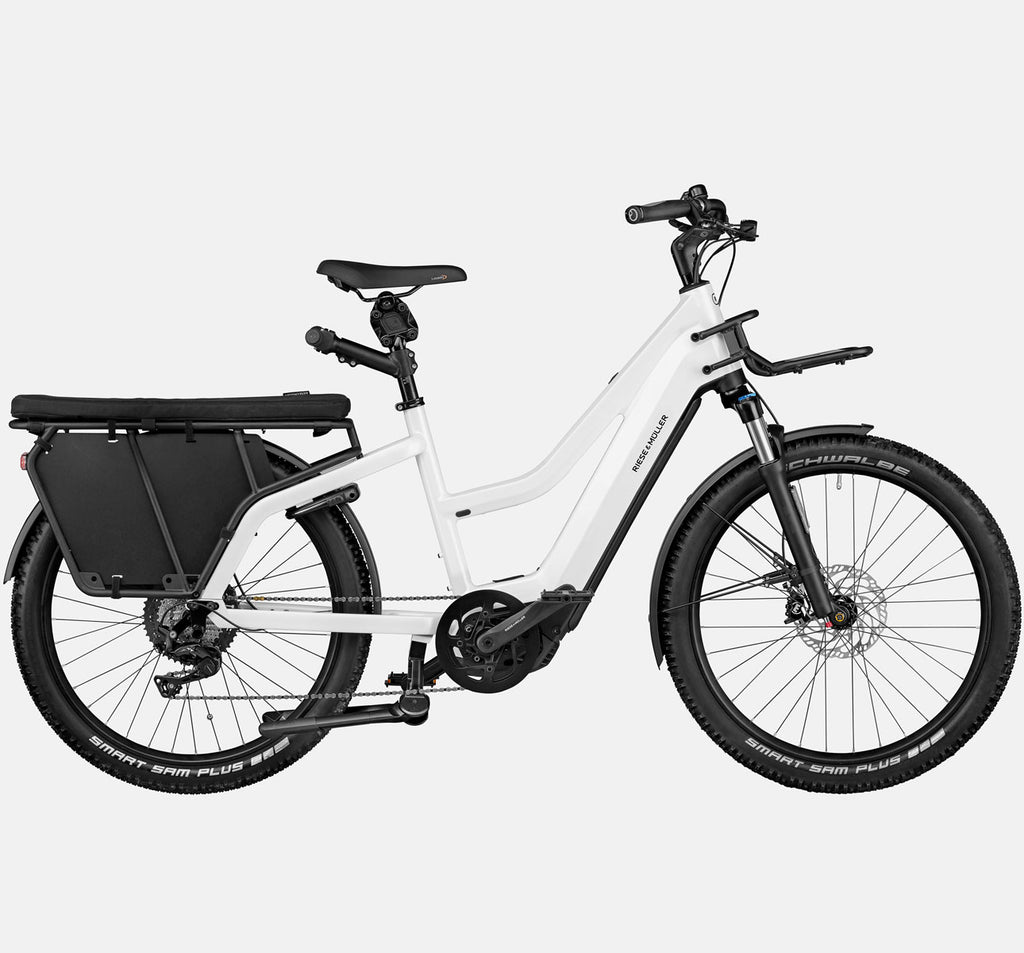 Riese & Muller Multicharger Mixte Touring Longtail E-Bike with Suspension and Passenger Kit  in Pearl White and Black Matte