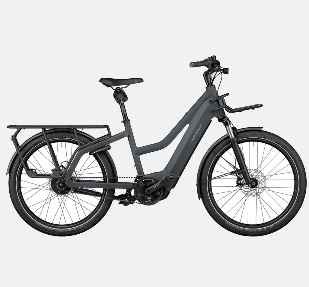 Riese & Muller Multicharger Mixte GT Vario Suspension E-Bike with Thudbuster Seatpost in Utility Grey & Black Matte