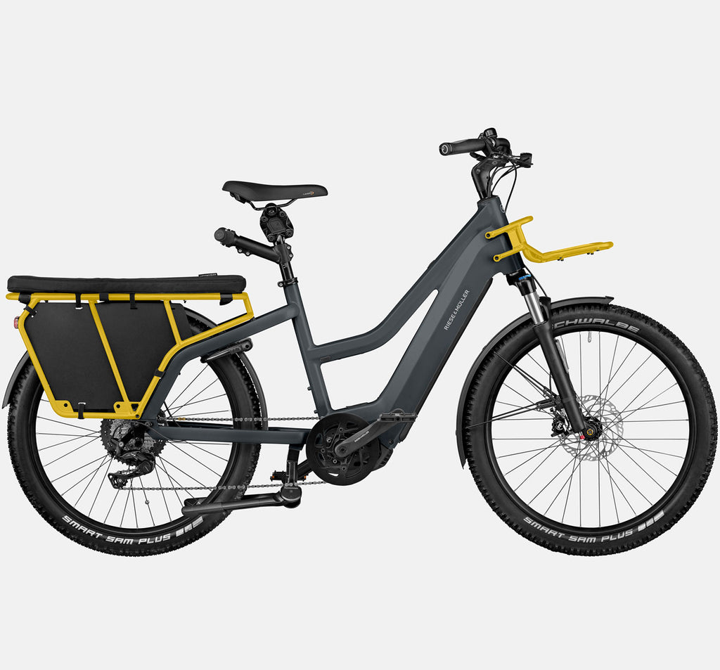 Riese & Muller Multicharger Mixte Touring Longtail E-Bike with Suspension and Passenger Kit in Utility Grey and Curry Matte