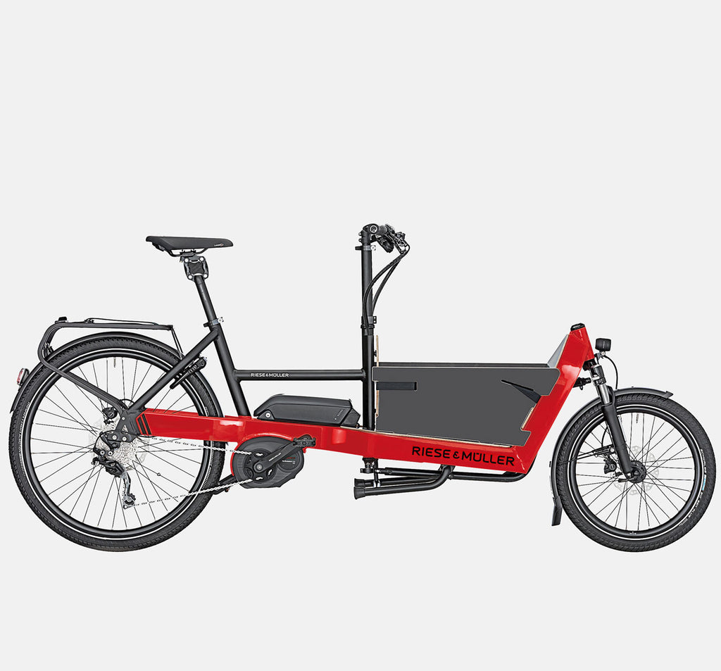Riese & Muller Packster 40 Touring Suspension Cargo E-Bike with Sidewallsi n Racing Red