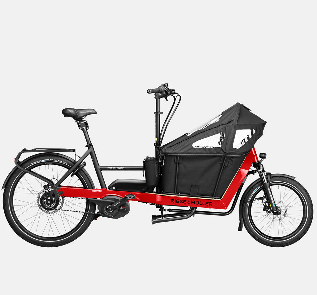 Riese & Muller Packster 40 Vario Suspension Cargo E-Bike with Kid Carrier and Canopy in Racing Red