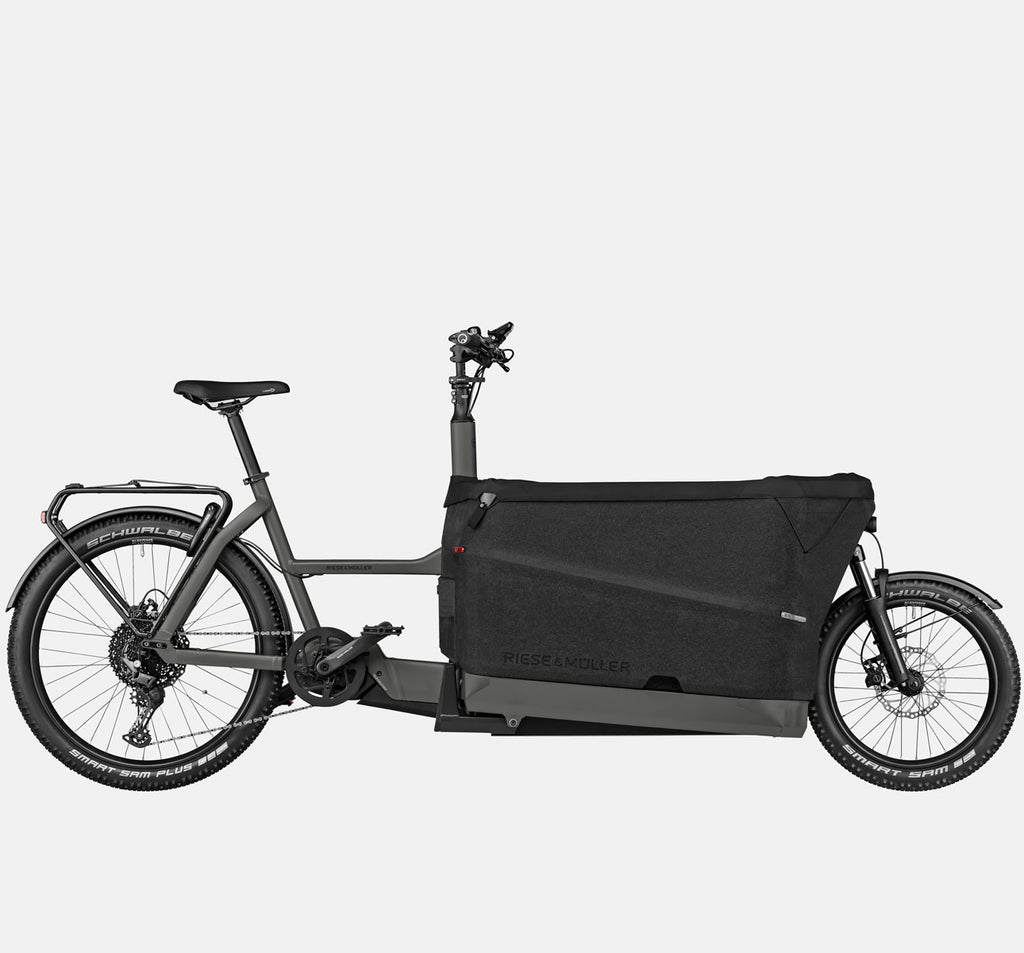 Riese & Muller Packster 70 Touring with Schwalbe Smart Sam Plus Tires and Tarpaulin Cover in Urban Grey Matte