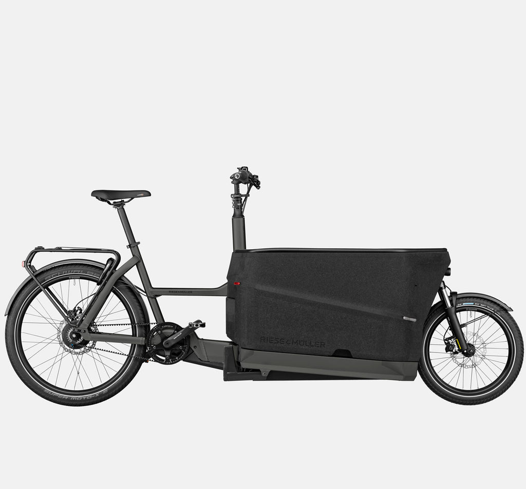 Riese & Muller Packster 70 Suspension Cargo E-Bike with Schwalbe SuperMoto-X Tires in Urban Grey Matte