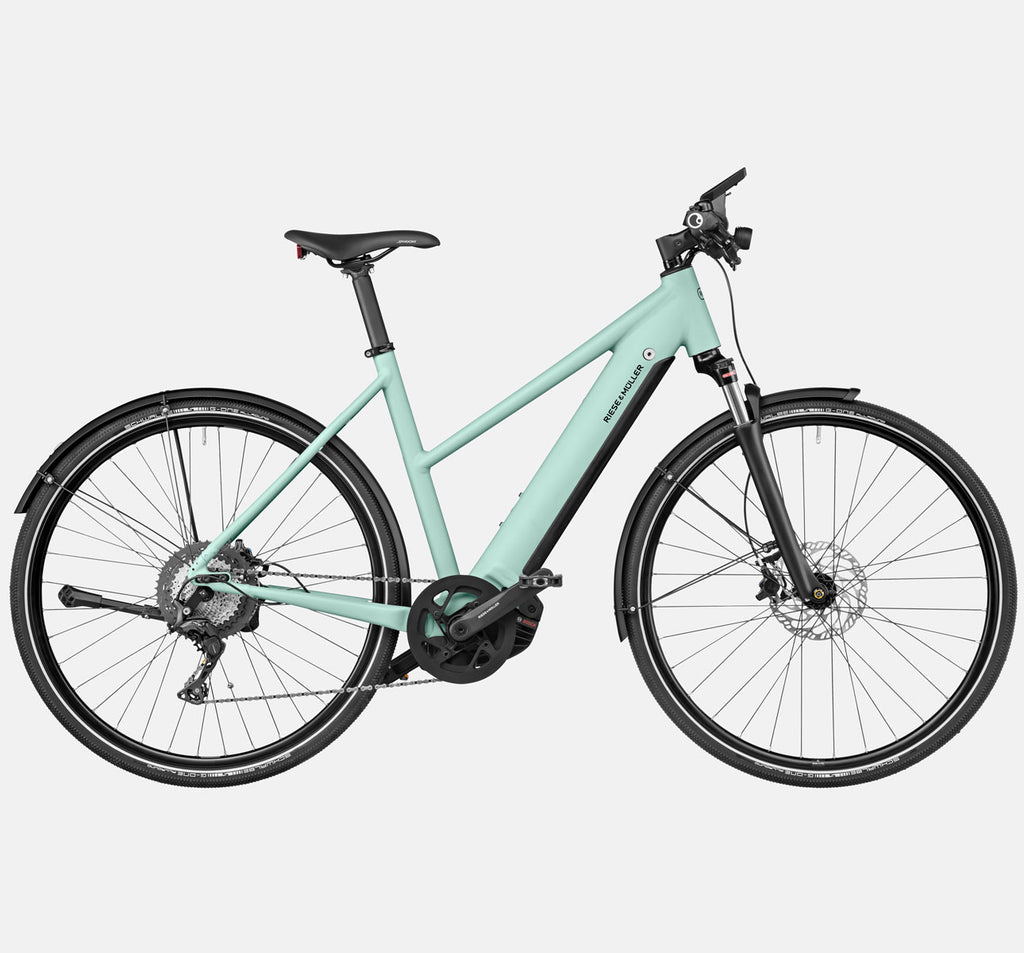 Riese & Muller Roadster Mixte Touring Suspension City E-Bike with Nyon Display in Salvia Matte