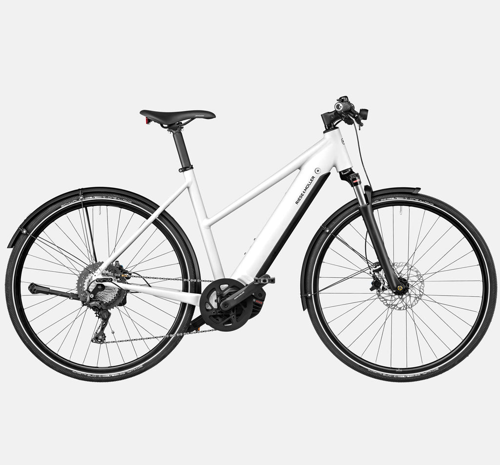 Riese & Muller Roadster Mixte Touring Suspension City E-Bike in Crystal White
