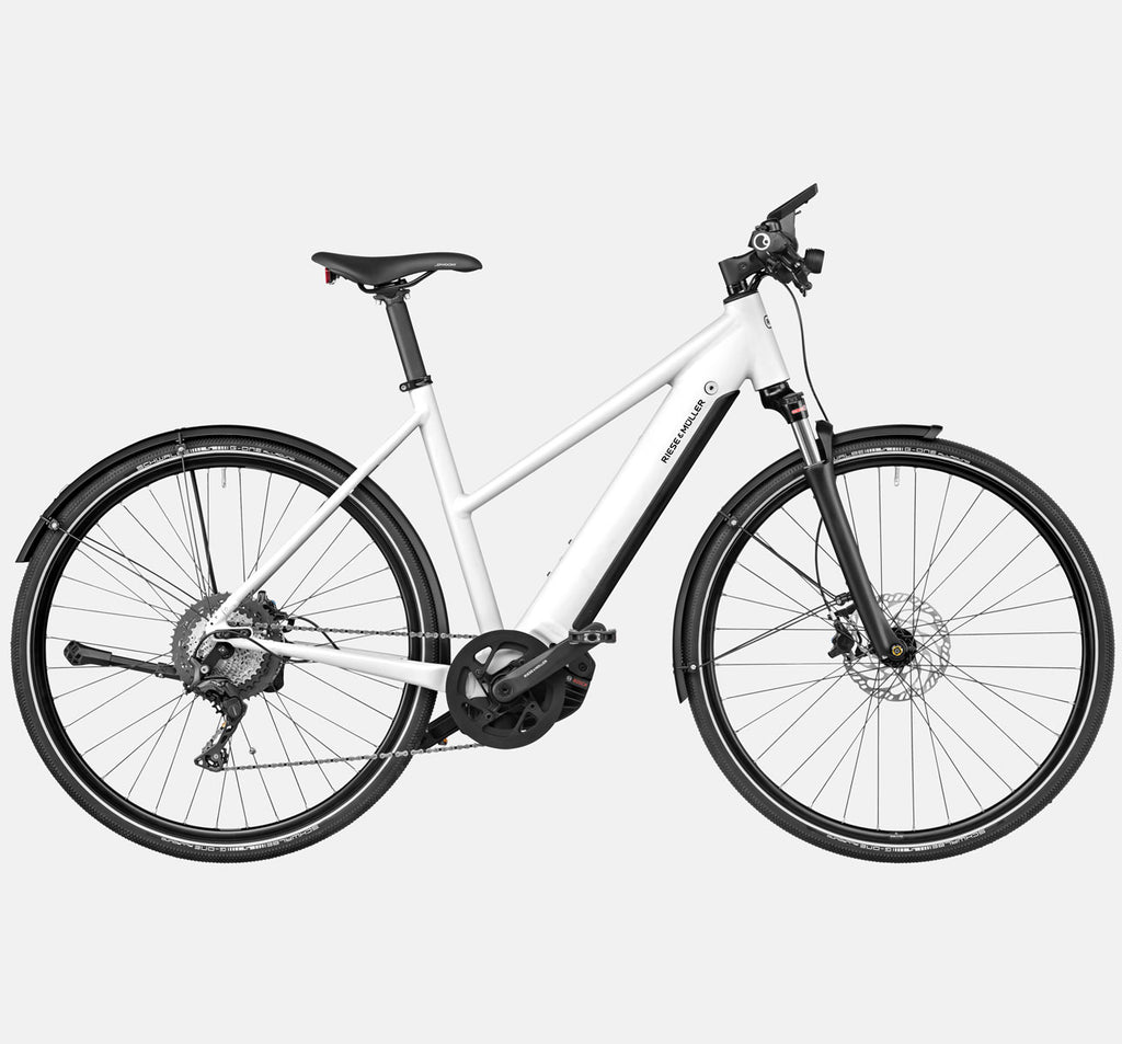 Riese & Muller Roadster Mixte Touring Suspension City E-Bike with Nyon Display in Crystal White