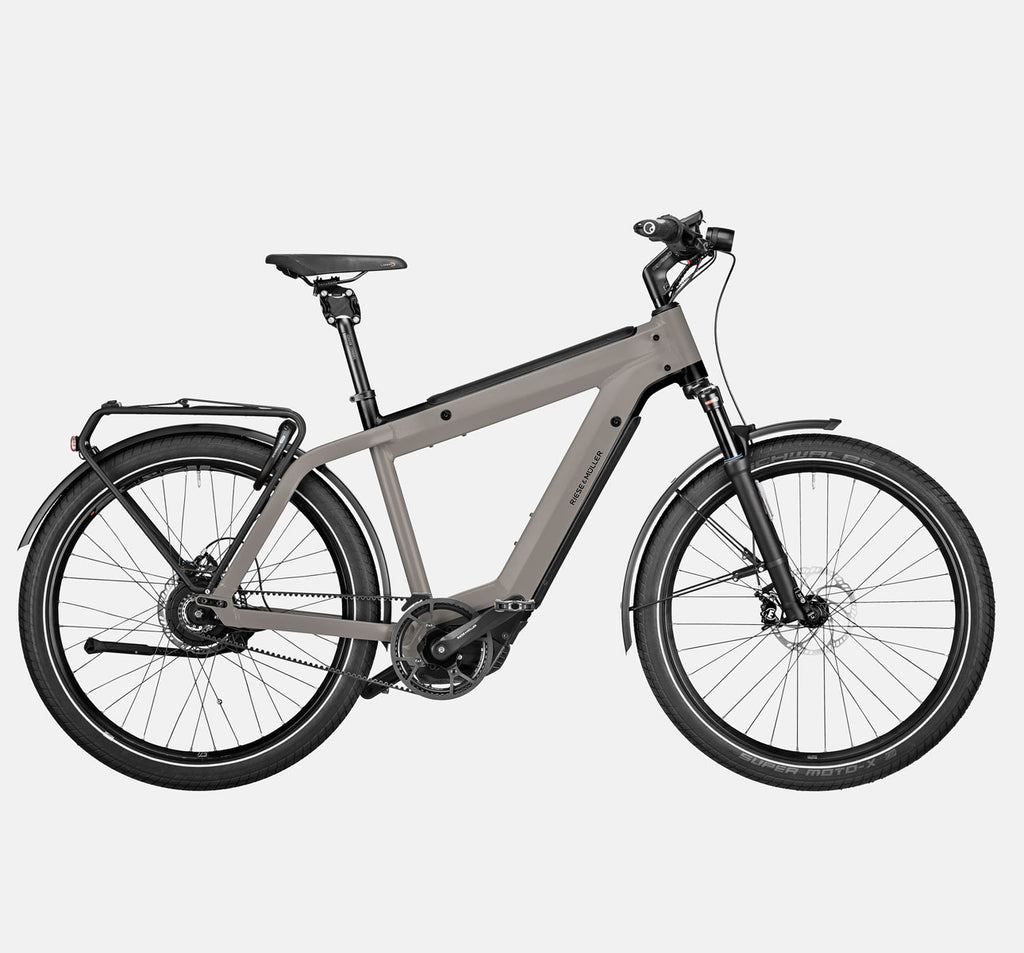 Riese & Muller Supercharger2 GT Vario Suspension E-Bike with Pannier Rack and Thudbuster Seatpost in Warm Silver Matte