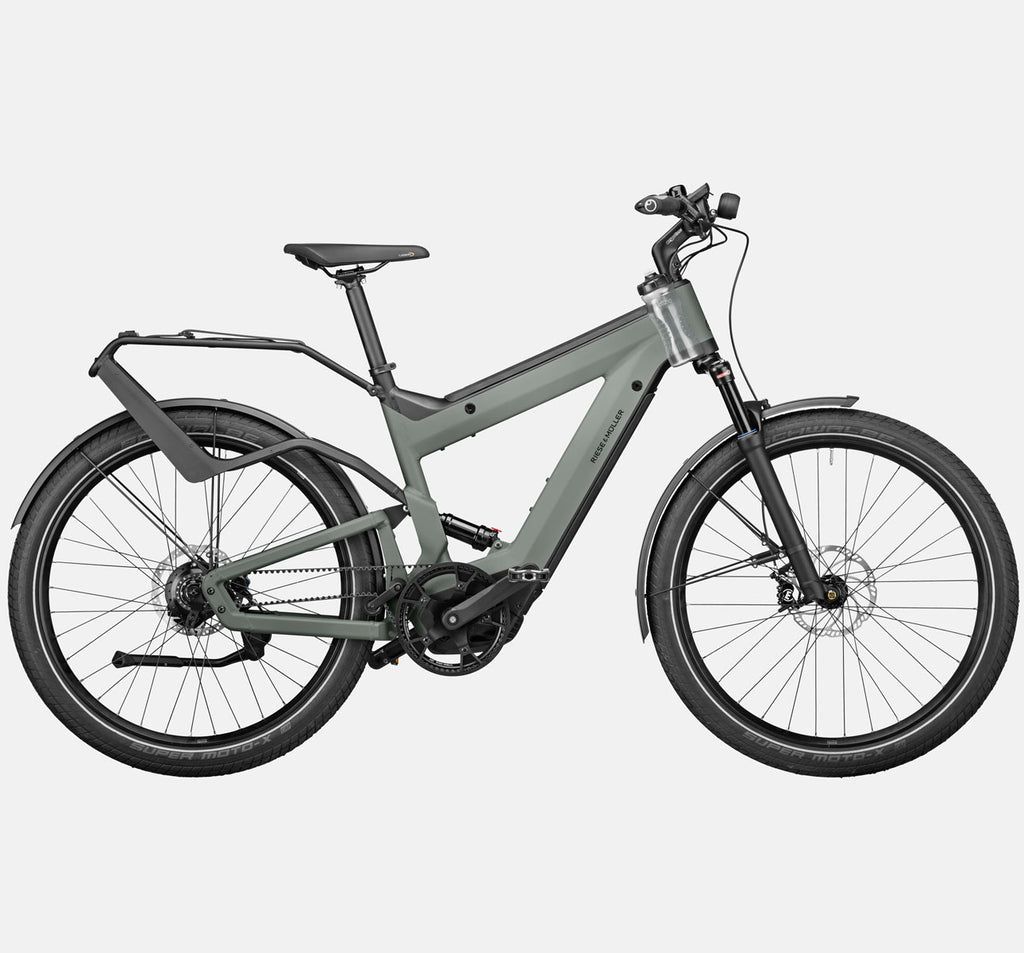 Riese & Muller Superdelite GT Rohloff Adventure Mountain E-Bike with Full Suspension in Tundra Grey Matte with Water Bottle Carrier
