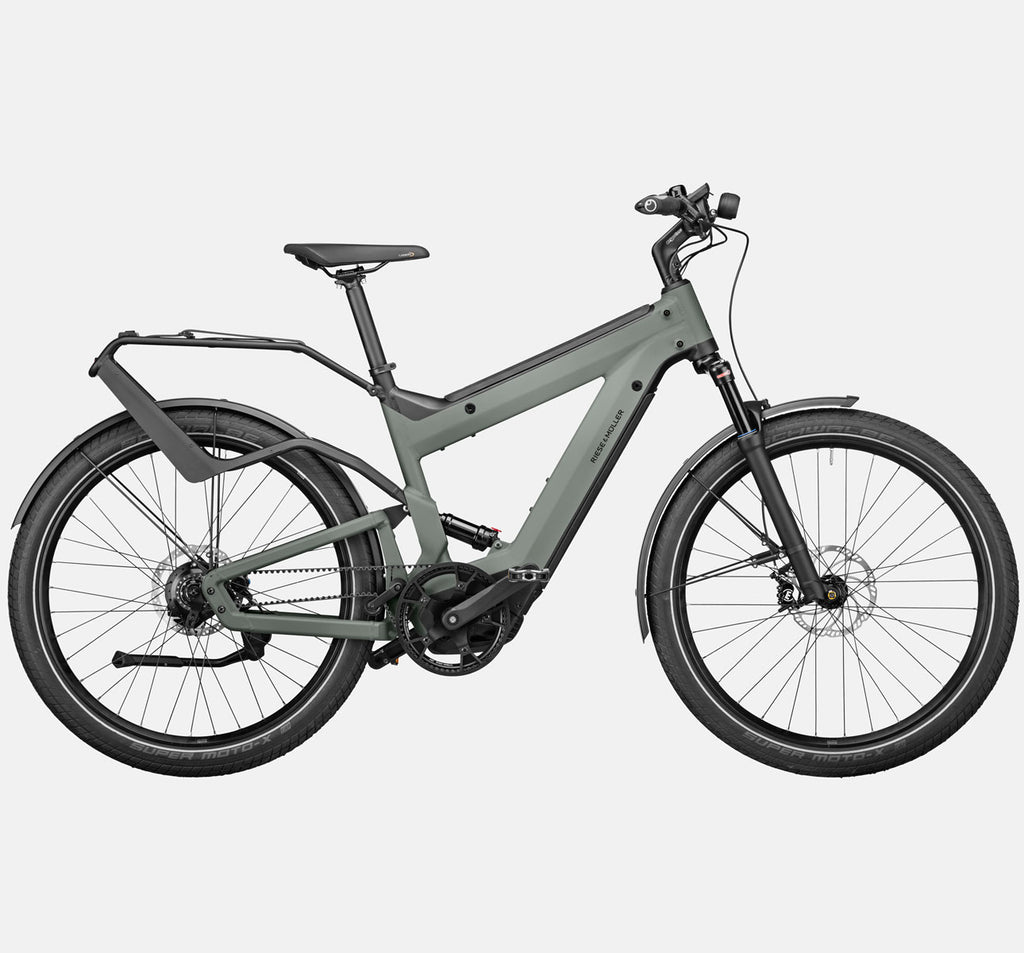 Riese & Muller Superdelite GT Rohloff Adventure Mountain E-Bike with Full Suspension in Tundra Grey Matte