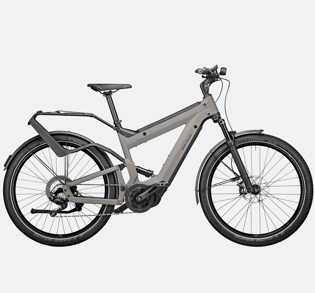 Riese & Muller Superdelite GT Touring Full Suspension E-Bike in Warm Silver Matte