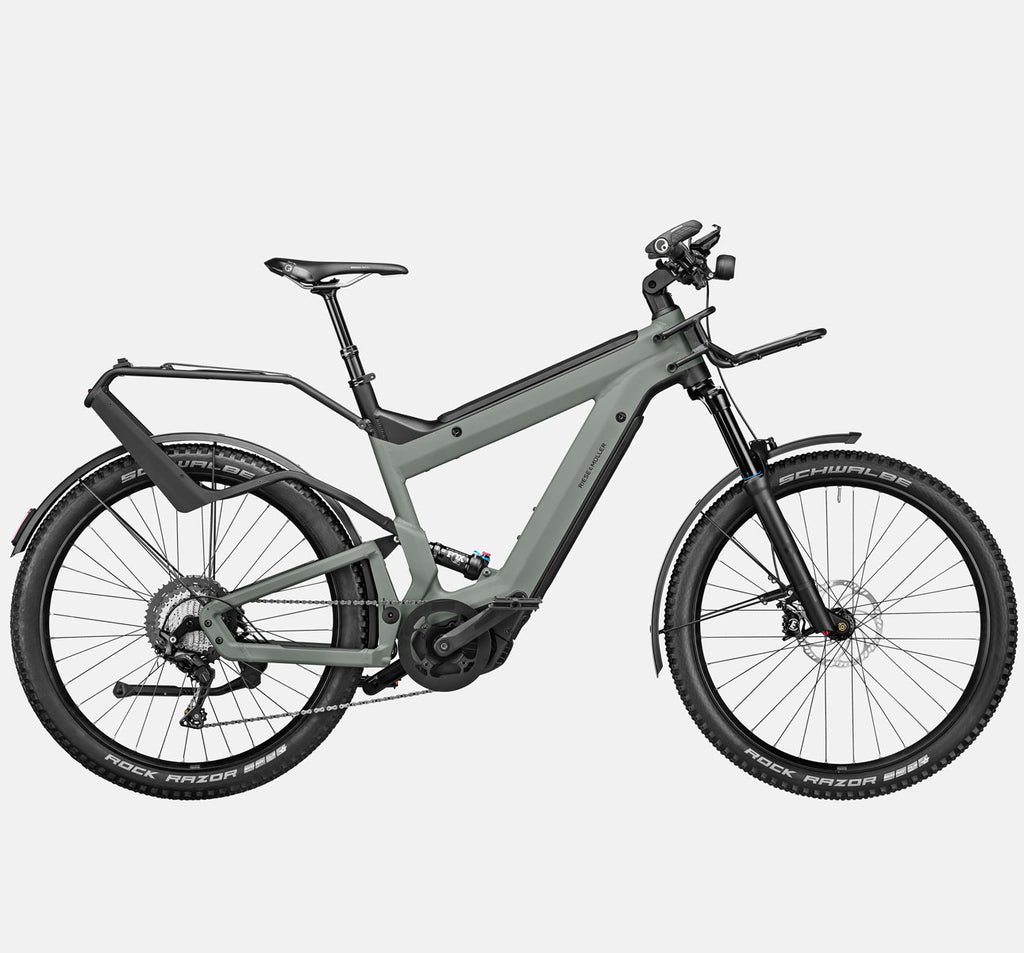 Riese & Muller Superdelite GT Touring Full Suspension E-Bike in Tundra Grey Matte with Schwalbe Rock Razor Tires (GX Option)