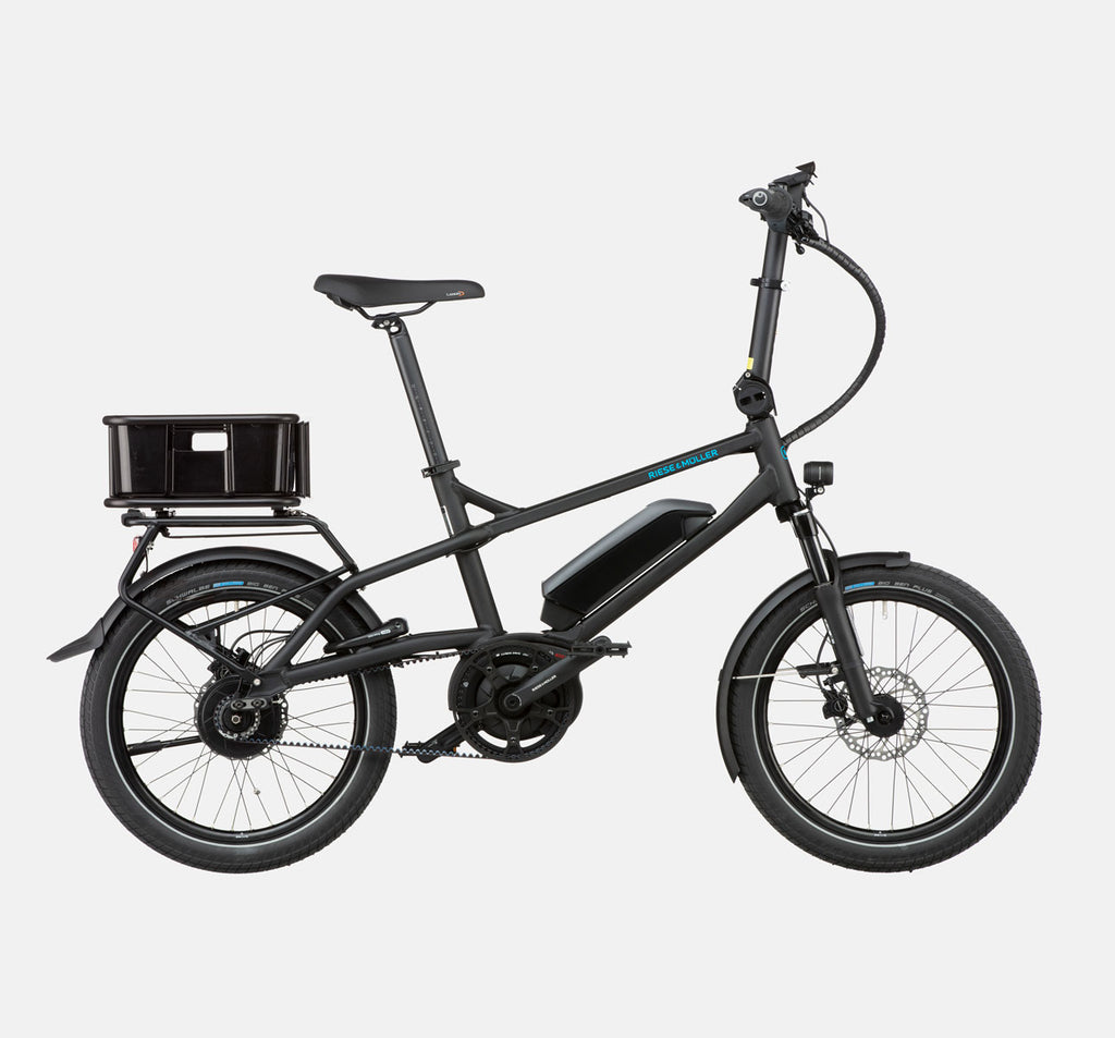 Riese & Muller Tinker Silent Vario City E-Bike with Cargo Box in Black Matte