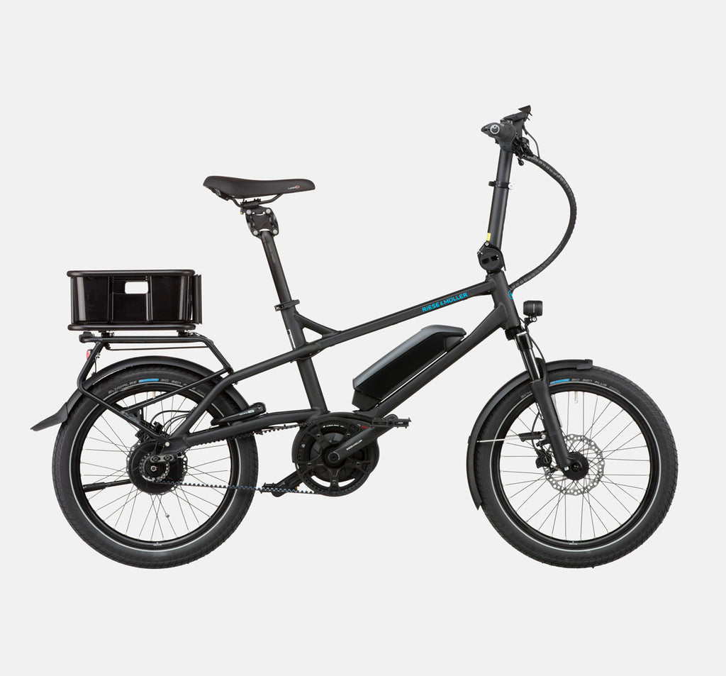 Riese & Muller Tinker Silent Vario City E-Bike with Thudbuster Seatpost and Cargo Box in Black Matte