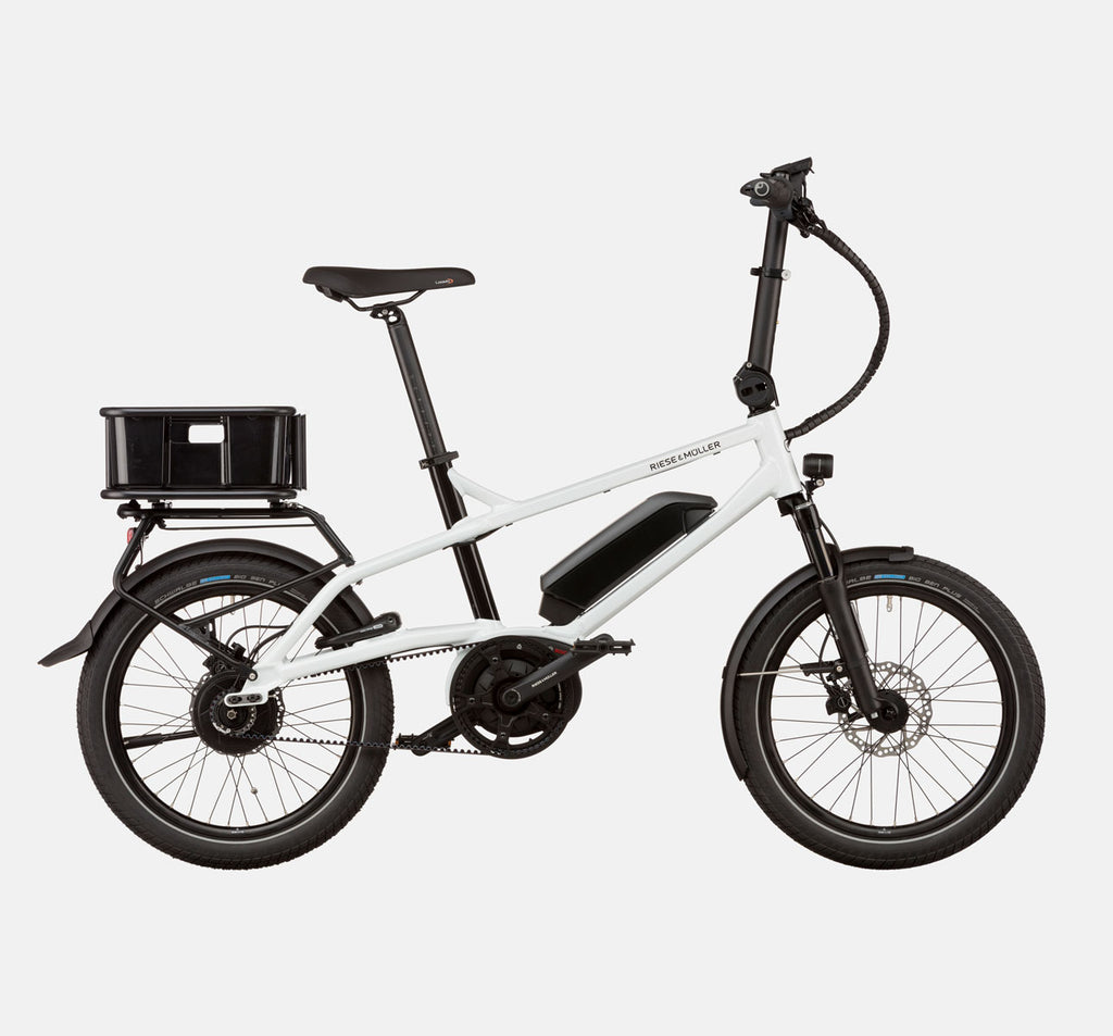 Riese & Muller Tinker Silent Vario City E-Bike with Cargo Box in Crystal White
