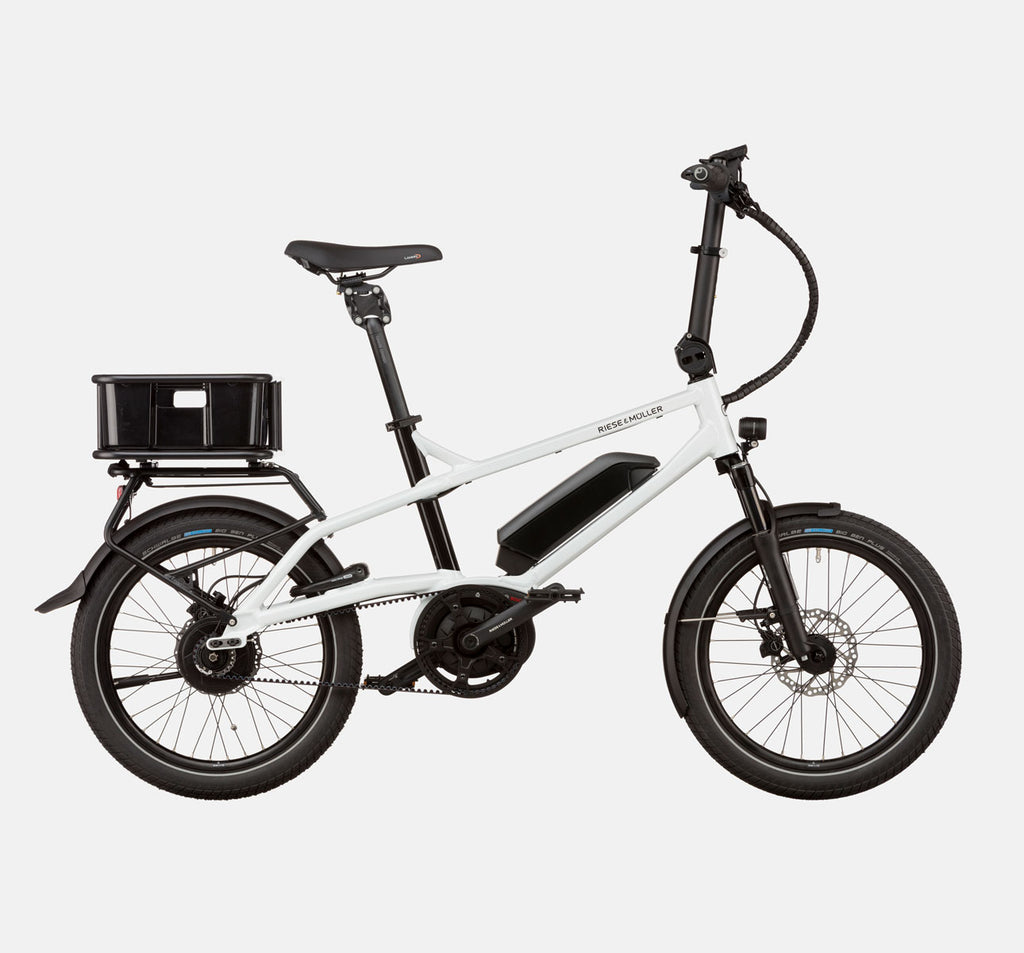 Riese & Muller Tinker Silent Vario City E-Bike with Thudbuster Seatpost and Cargo Box in Crystal White